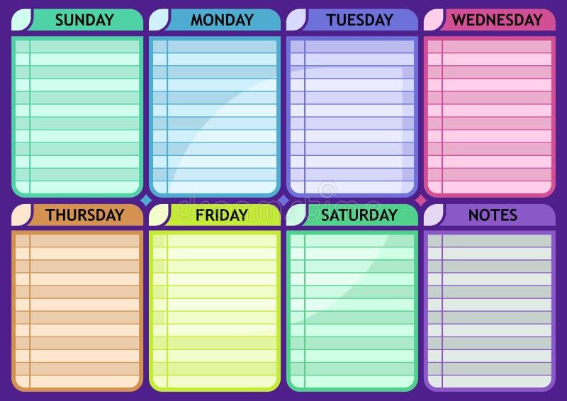 Planejador semanal da rotina da placa da programação ilustração do vetor