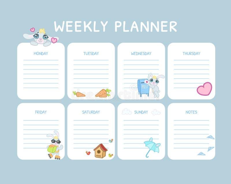 Planejador semanal das crianças, claro diário do calendário - molde azul, organizador e programação com lugar para a ilustração d ilustração royalty free
