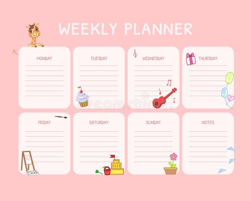 Planejador semanal das crianças, molde do calendário, organizador e programação cor-de-rosa diários com lugar para a ilustração d ilustração royalty free