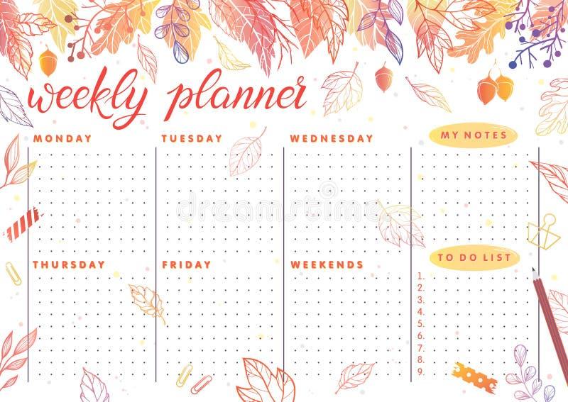 Planejador semanal do Dy ilustração stock