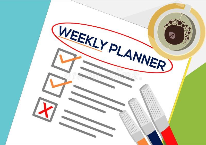 Planejador semanal ou conceito planejando do ícone Uma tarefa falhou Folhas de papel com marcas de verificação, texto abstrato e  ilustração royalty free