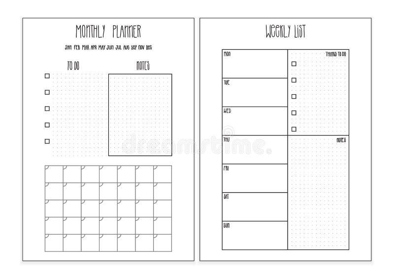 Planejador semanal, páginas imprimíveis do planejador mensal molde do organizador do vetor ilustração royalty free