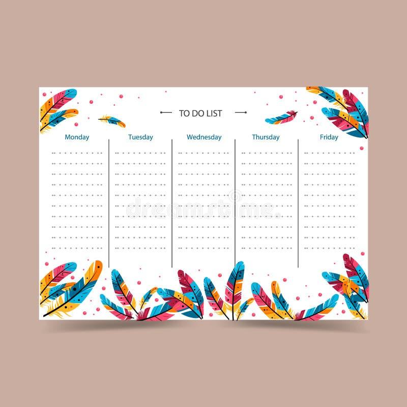 Planejador semanal Programação colorido do vetor ilustração stock