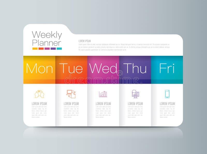 Planejador semanal segunda-feira - de infographics de sexta-feira projeto ilustração stock