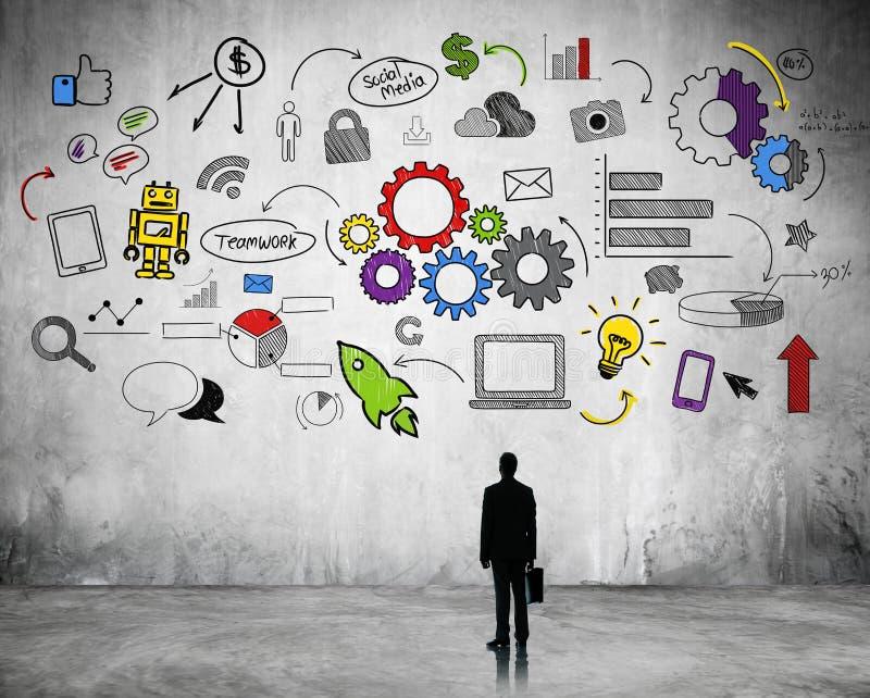 Planejamento estratégico do negócio com ícones do Internet ilustração do vetor