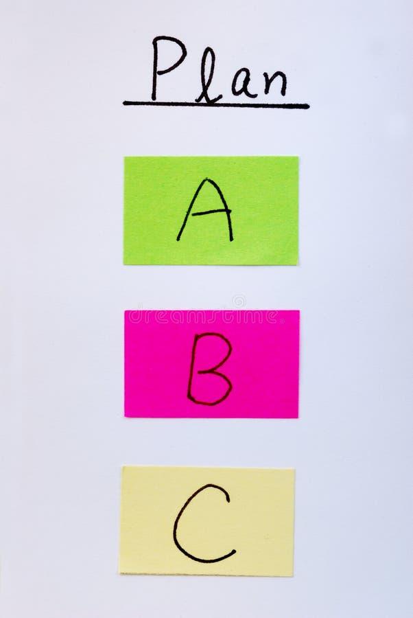 Planen Sie ein B C stockfotos