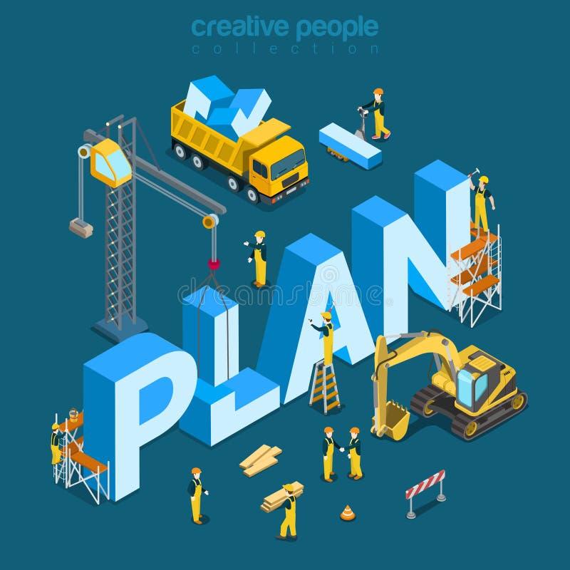 Planen Sie flachen isometrischen Vektor 3d des Schaffungsbaugebäude-Wortes lizenzfreie abbildung