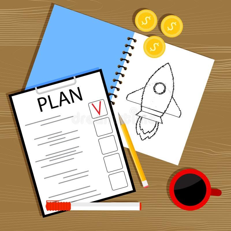 Planen Sie und investieren Sie im Start vektor abbildung