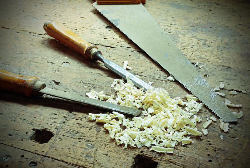 Planer and chisels and other tools in the ancient workshop of th royalty free stock image
