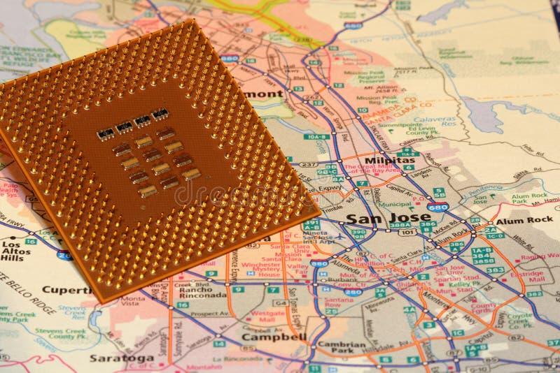 Planera San Jose Kalifornien Silicon Valley arkivfoto