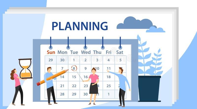 Planera schemabegreppsbanret med tecken Planera och arbetsprocessorganisation Lag som arbetar tillsammans att planera royaltyfri illustrationer