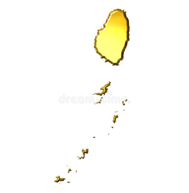 planerar guld- granatäppelsafter 3d den vincent sainten stock illustrationer