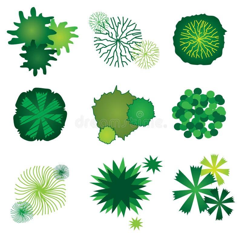 planerar trädgårds- symboler för design den set treen vektor illustrationer