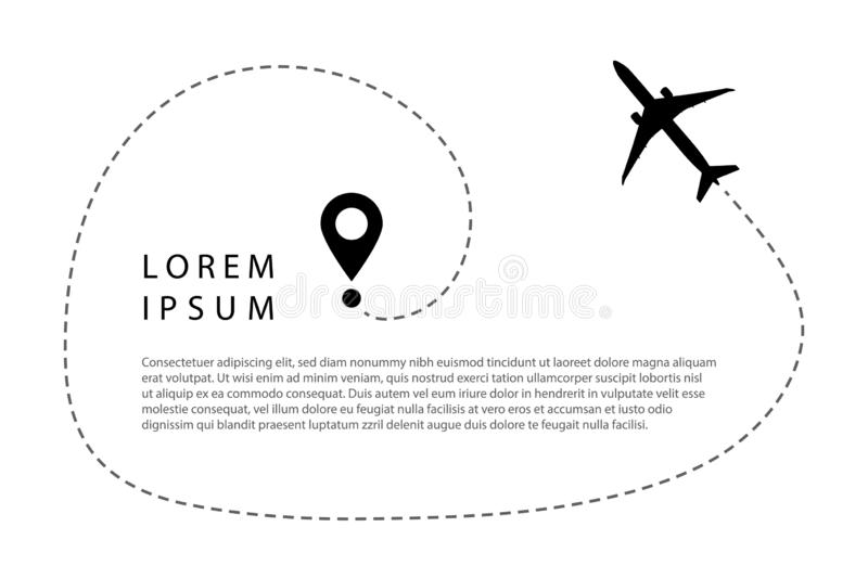 Airplane line path vector icon of air plane flight route with start point and dash line trace. Aircraft clip art icon with route path track in black and white royalty free illustration