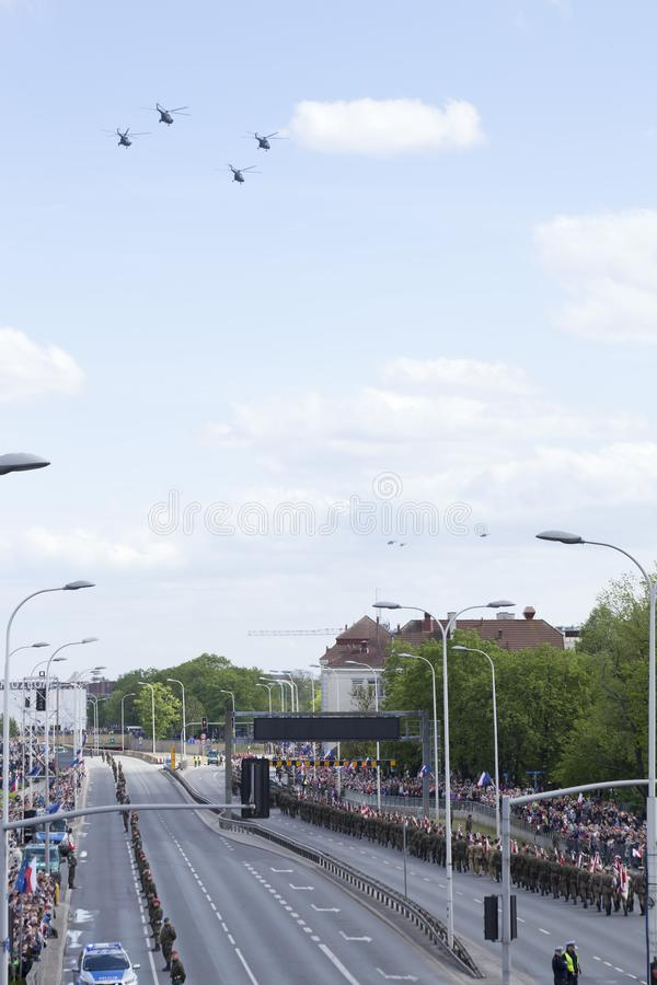 Planes on army parade on May 3, 2019 in Warsaw, Poland. WARSAW, POLAND, May 3: Planes on army parade on May 3, 2019 in Warsaw, Poland royalty free stock photo