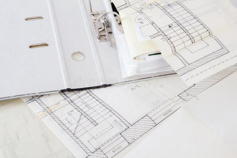Planes arquitectónicos imagen de archivo libre de regalías