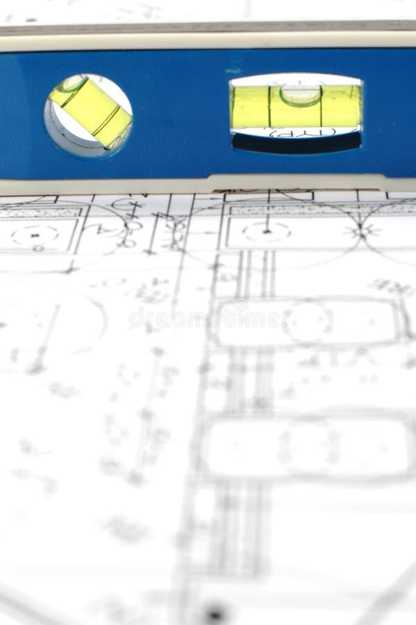 Planes arquitectónicos y nivel del agua imagen de archivo libre de regalías