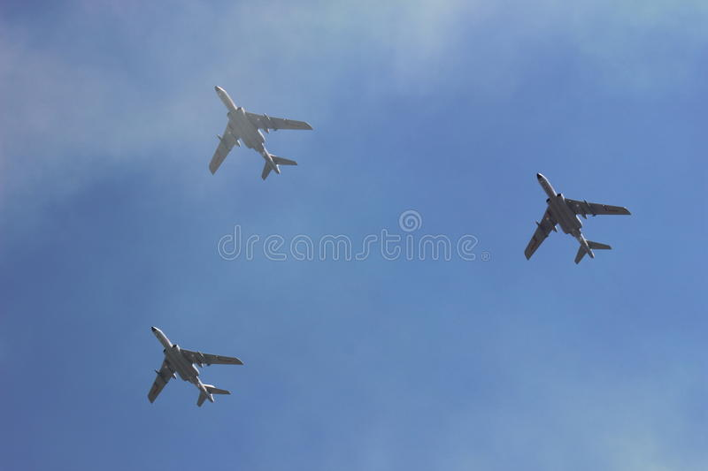 Planes in the cloud royalty free stock photos