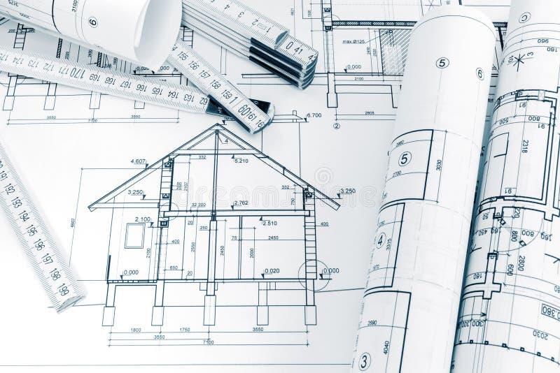 Planes de la ingeniería de la regla de la renovación y de plegamiento de la casa en archi fotos de archivo