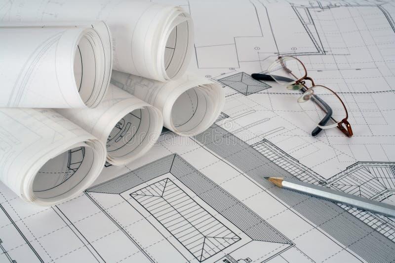 Planes del arquitecto foto de archivo libre de regalías
