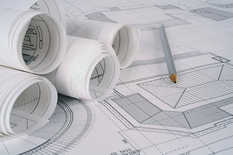 Planes del arquitecto imagen de archivo libre de regalías