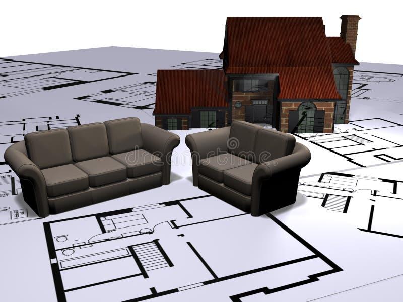 Planes del sofá y de la casa   ilustración del vector