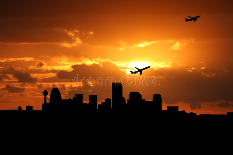 Planes departing Calgary. Planes departing with Calgary skyline at sunset stock illustration