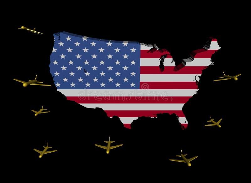 Planes Departing USA Map Flag Stock Photos