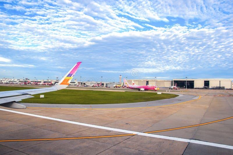 Planes at Don Muang Airport in Bangkok, Domestic Airport in Thailand stock image