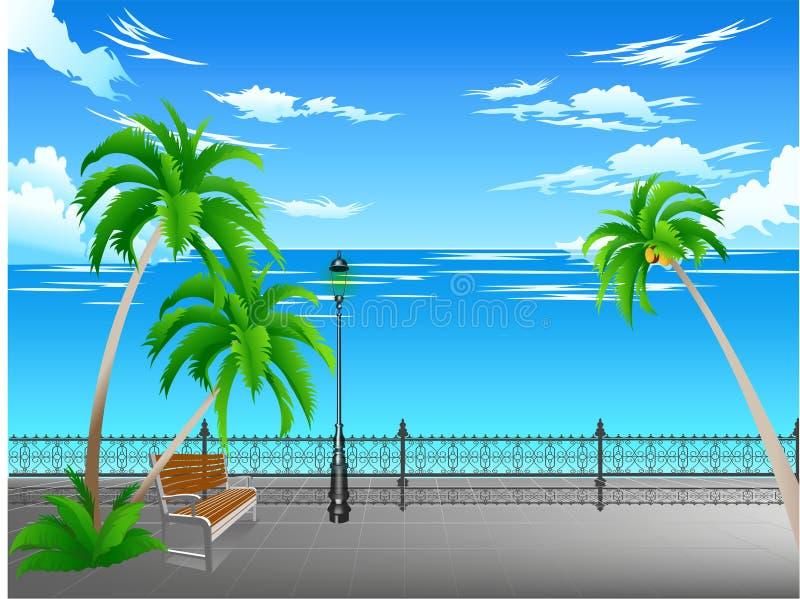 Planes en el mar del parque ilustración del vector