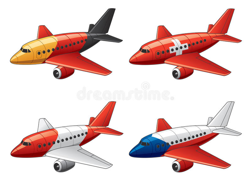 Planes in European flags colors stock image