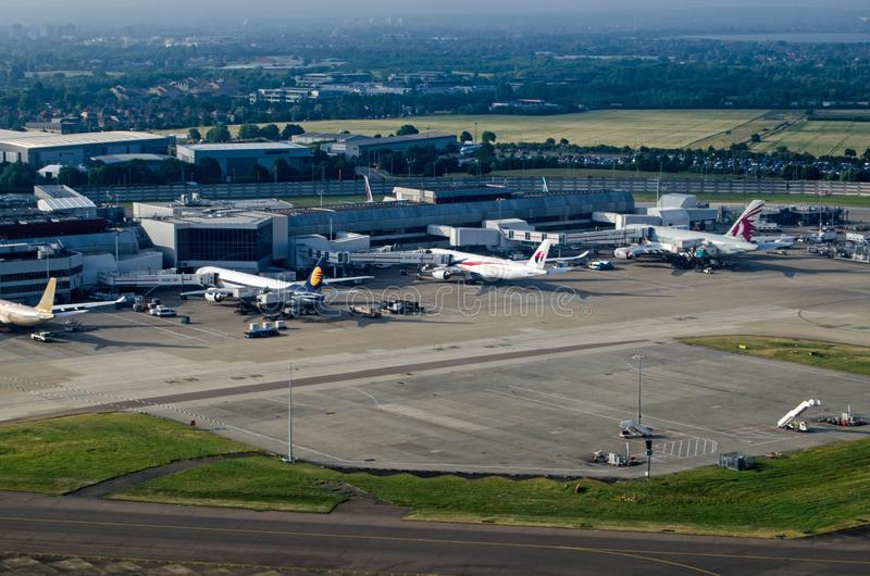 Planes at Heathrow Terminal 4, aerial view royalty free stock images