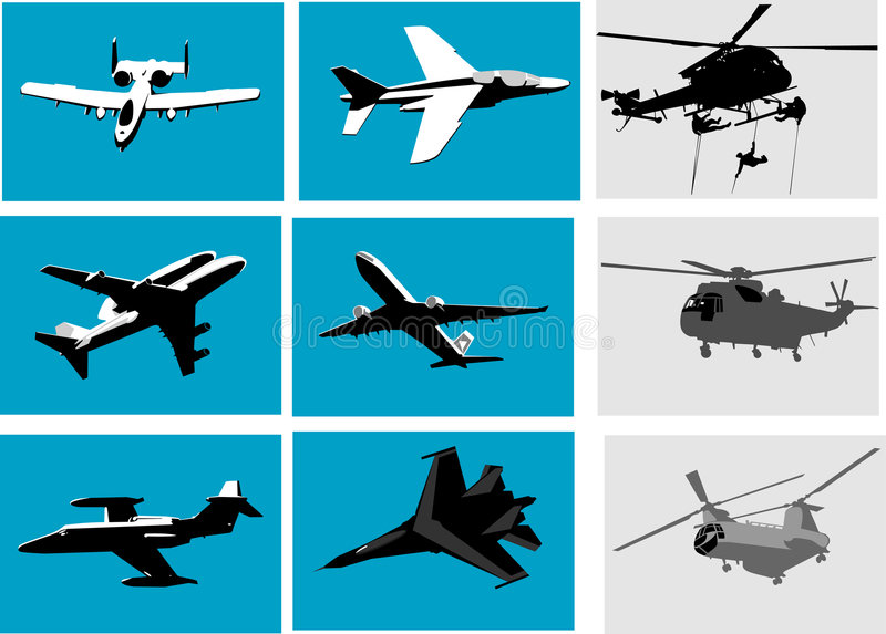Planes and helicopter vector illustration