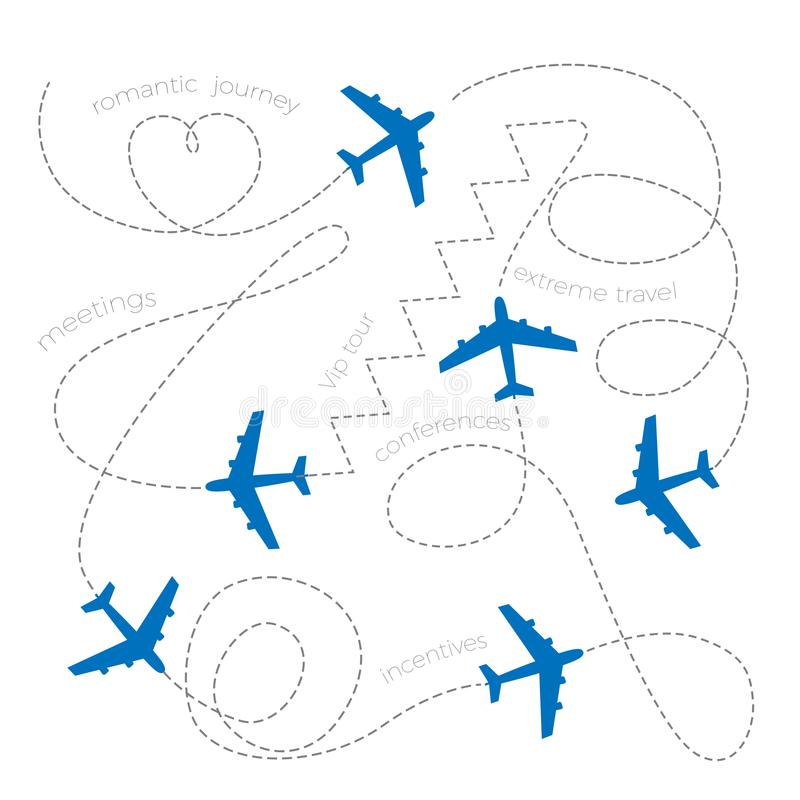 Planes leaving dashed lines concept of romantic journey, vip tour stock illustration