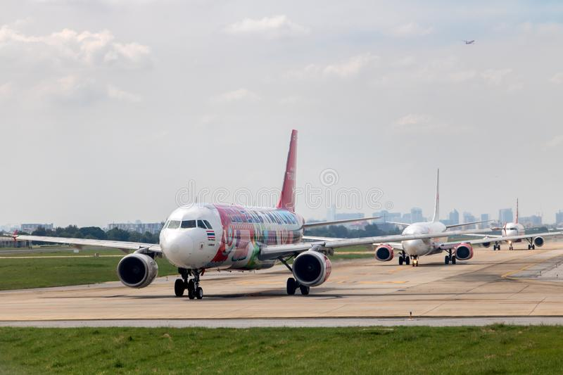 Planes queued for departure from the airport royalty free stock images