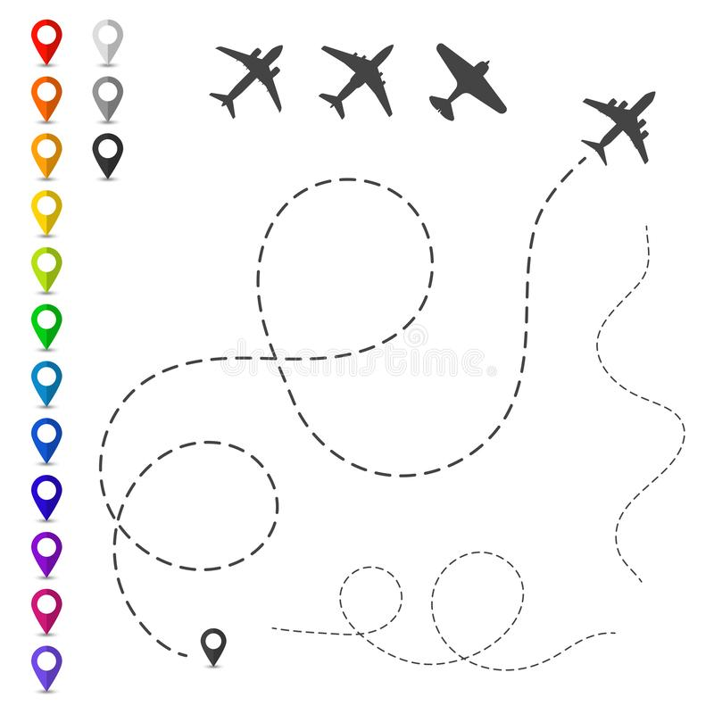 Planes and tracks isolated on white. Vector illustration. royalty free illustration