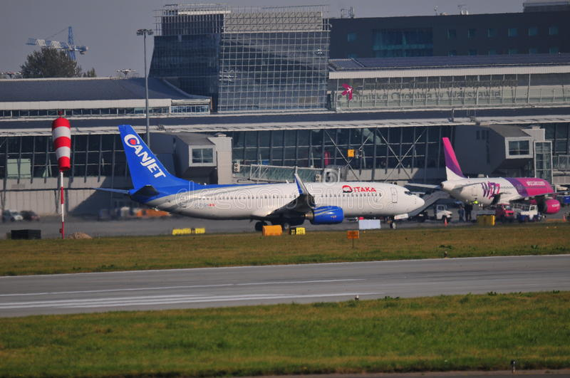 Planes on the Warsaw Chopin Airport. This is a view of planes on the Warsaw Chopin Airport in Warsaw. October 6, 2014. Chopin Airport in Warsaw, Poland stock images