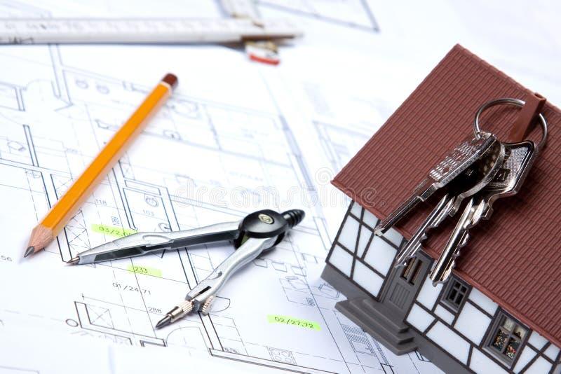 Planes y claves de la construcción foto de archivo