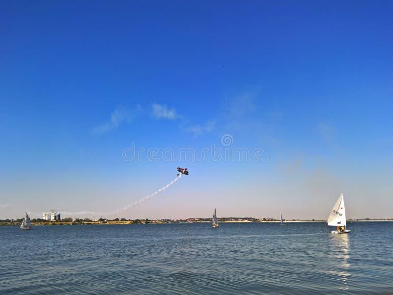 Ciurel Aeronautic Show. Planes and yachts at Ciurel Aeronautic Show, september 2017 royalty free stock photo