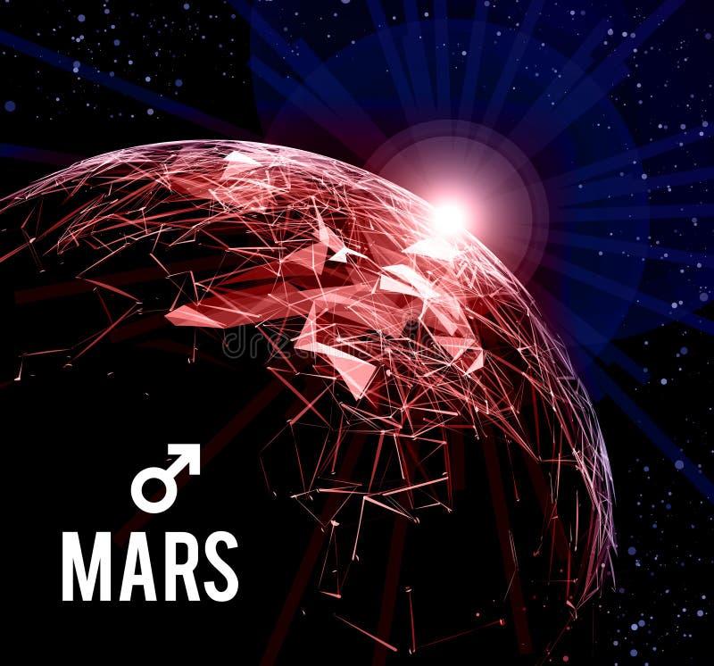 planetę mars również zwrócić corel ilustracji wektora Mars w astrologii symbolizuje krzepkość, odwaga, determinacja ilustracja wektor