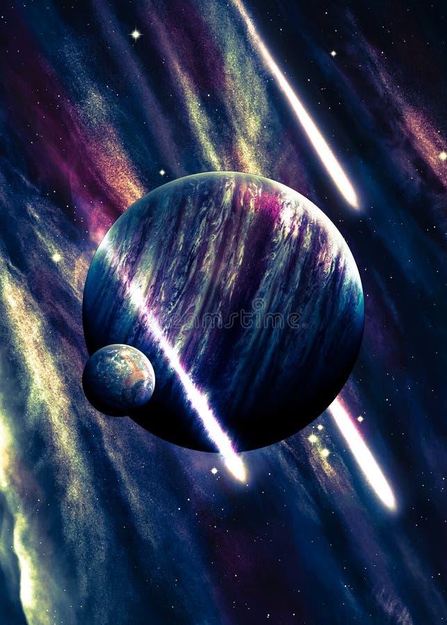 Planet över nebulaena i utrymme med komet royaltyfri illustrationer