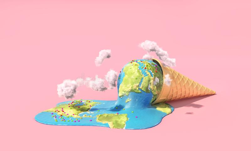 Planet als schmelzende Eiscreme unter heißer Sonne auf einem rosa Hintergrund lizenzfreie abbildung