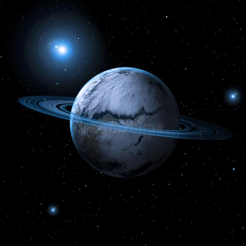 Planet with asteroid rings stock photos
