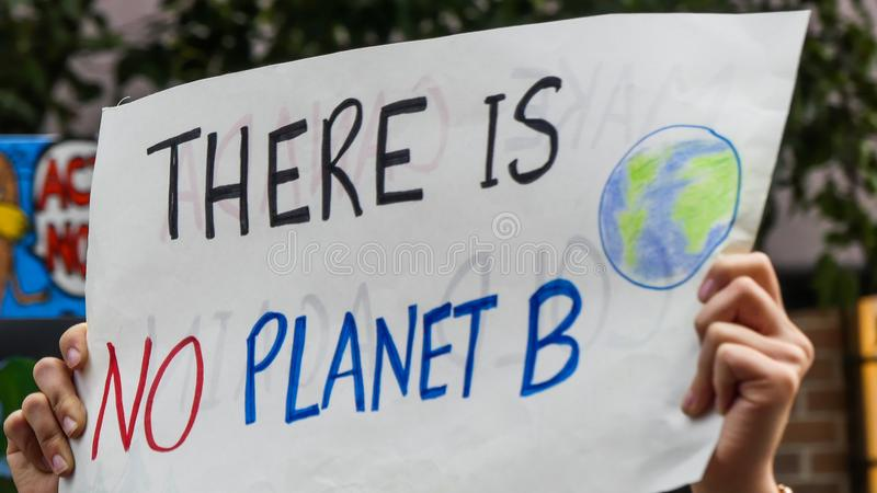 Planet B climate change march banner stock images