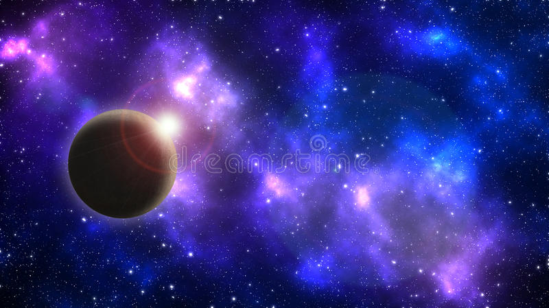 Planet on a background of stars and galaxies stock illustration
