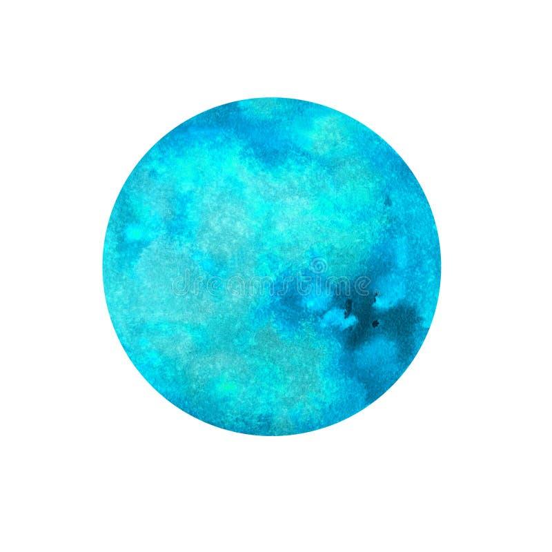 Planet blue watercolor vector illustration