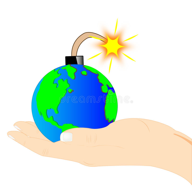 Planet bomb on palm of the person vector illustration