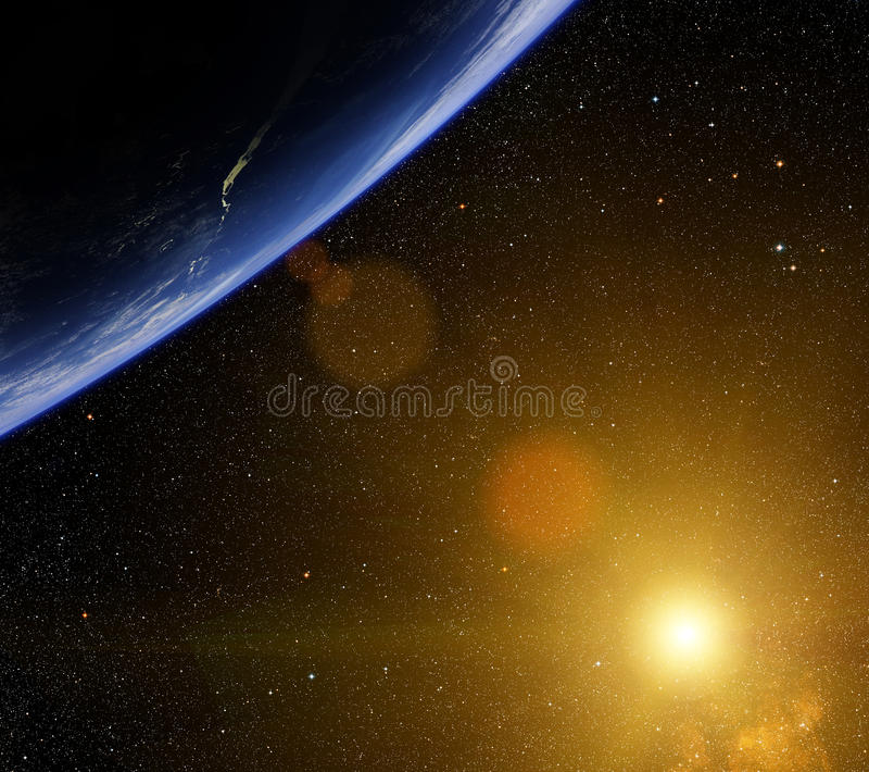 Download Planet with bright star. stock illustration. Illustration of colorful - 31891754