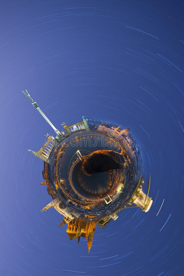 Planet Budapest. Miniature planet of Budapest, with all important buildings and attracions of the city. Night photo with star trails stock photo