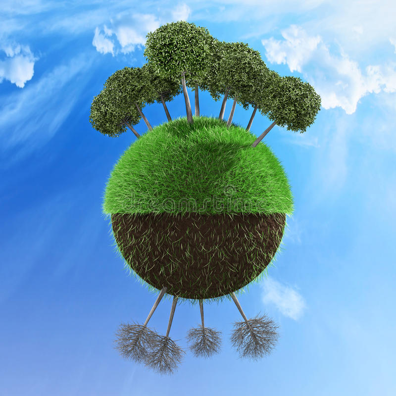 Planet concept. Planet illustrated with one half with healthy trees and other half with no leaf trees 3d illustration stock illustration